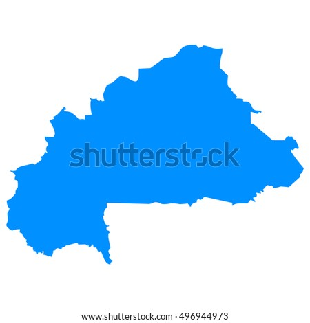 High detailed blue vector map - Burkina Faso
