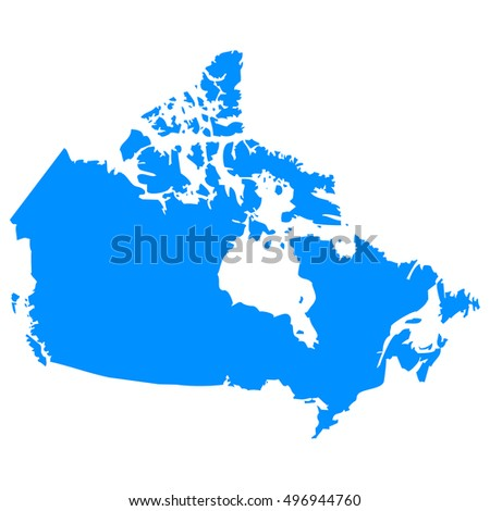 High detailed blue vector map - Canada