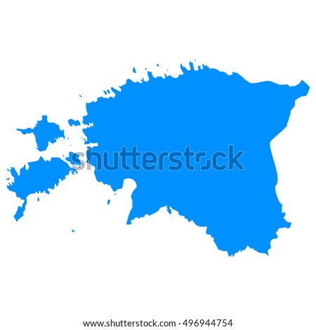 High detailed blue vector map - Estonia