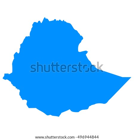 High detailed blue vector map - Ethiopia