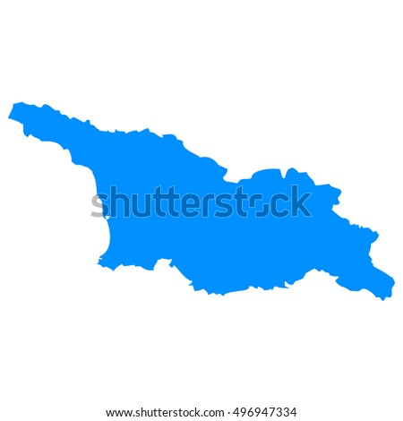 High detailed blue vector map, Georgia