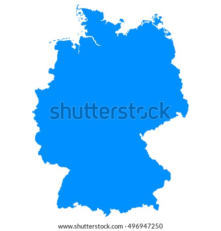 High detailed blue vector map, Germany