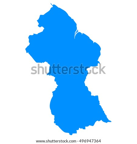 High detailed blue vector map, Guinea
