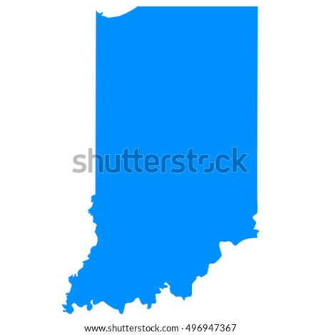 High detailed blue vector map, Indiana