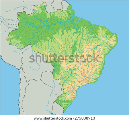 High Detailed Brazil Physical Map Stock Vector - Brazil map physical