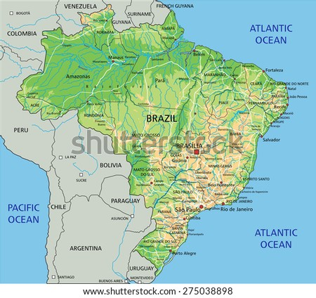 High detailed Brazil physical map with labeling.