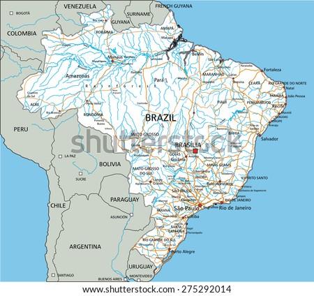 Brazil Road Highway Map Vector Illustration Stock Vector - Argentina highway map