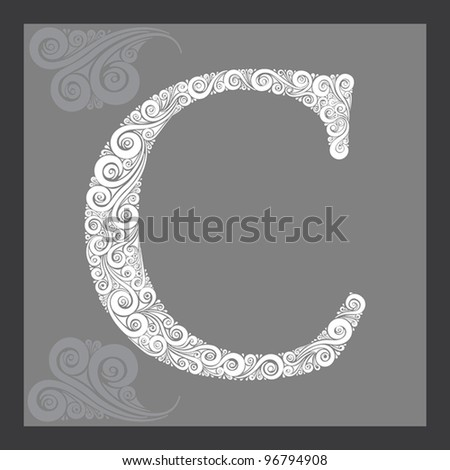 High detailed calligraphic capital letter C - stock vector