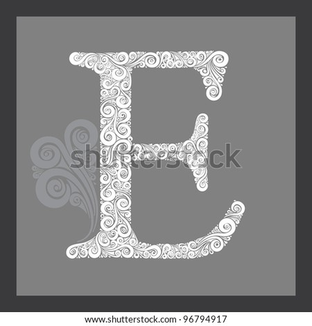 High detailed calligraphic capital letter E - stock vector