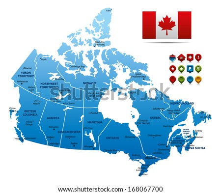 High detailed Canada Map - stock vector