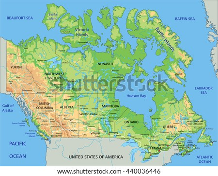High Detailed Canada Physical Map Labeling Stock Vector 2018