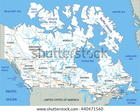 High detailed Canada road map with labeling. - stock vector