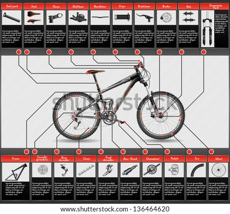 High detailed, completed scheme of full-suspension MTB, each object has layer, EPS 10, contains transparency - stock vector