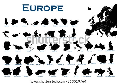 High detailed editable illustration of all European countries. - stock vector