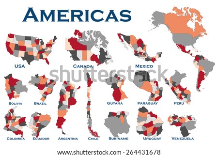 High detailed editable, political map of all South and North American countries. - stock vector