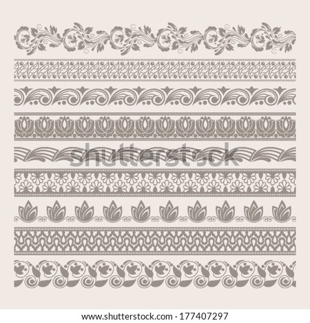 High detailed elegant vector borders. Set of decorative tapes. Original author'??s design, EPS-8.