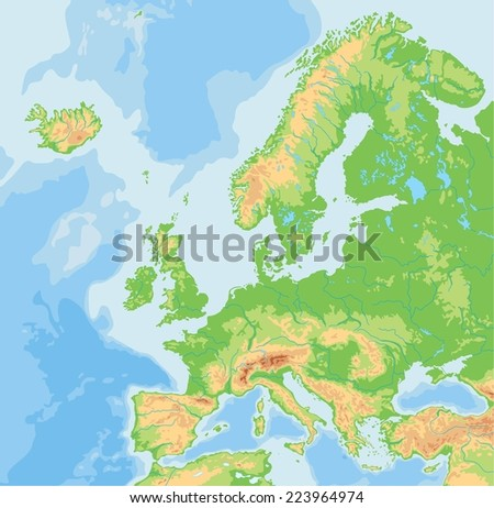 High detailed Europe physical map. - stock vector