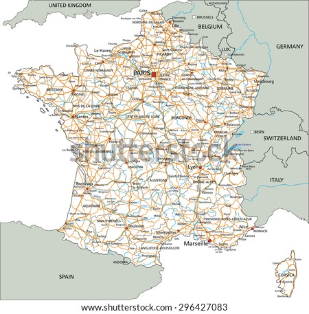 High Detailed France Road Map Labeling Stock Vector HD Royalty Free