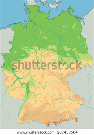 Map Germany Postcodes Highways Green Stock Illustration - Germany physical map