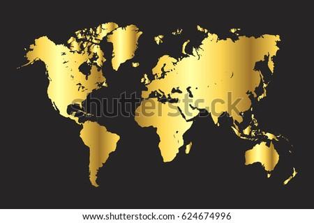 High detailed gold world map vector vector de stock624674996 gold world map vector eps 10 gumiabroncs Gallery