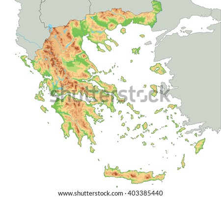 High detailed Greece physical map. - stock vector