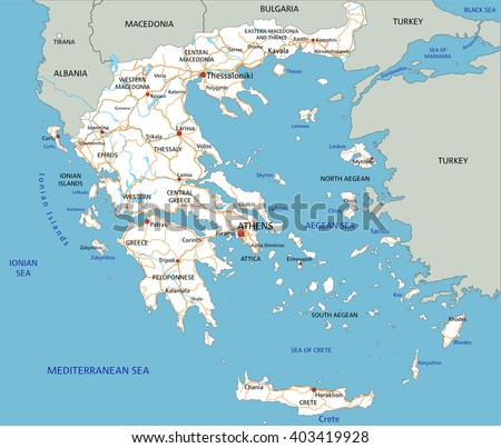 High detailed Greece road map with labeling.