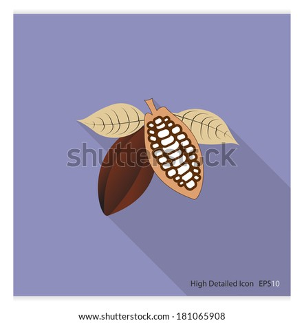 High detailed Icon with Long shadow ( Cacao Bean ) - stock vector
