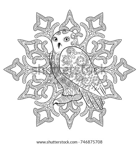 High Detailed Illustration Of An Snowy Owl In The Zentangle Style Adult Coloring Page With