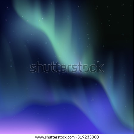 High detailed illustration of polar lights on the starry sky. Aurora borealis abstract vector background. EPS10 contains transparency, mesh gradients used. - stock vector