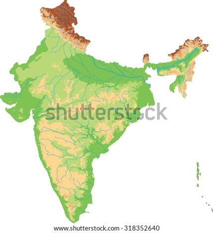 High detailed India physical map. - stock vector