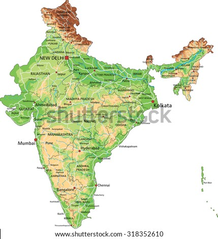 High detailed India physical map with labeling. - stock vector