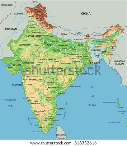 High detailed india physical map labeling stock vector 318352616 high detailed india physical map with labeling gumiabroncs Images