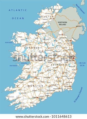 High Detailed Ireland Road Map Labeling Stock Vector 1011648613