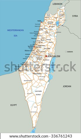 High Detailed Israel Road Map Labeling Stock Vector 336761243