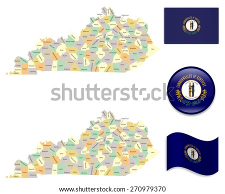 High Detailed Kentucky Map and Flag Icons - stock vector