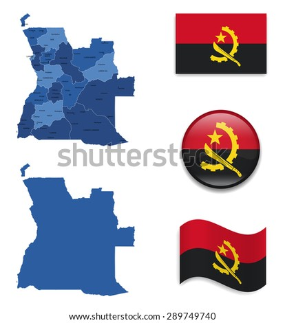 High Detailed Map of Angola With Flag Collection - stock vector