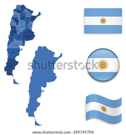 High Detailed Map of Argentina With Flag Icons - stock vector