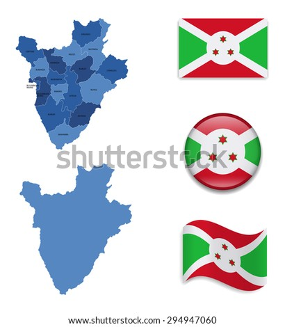 High Detailed Map of Burundi With Flag Icons - stock vector