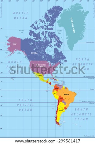 high detailed map of North and South America