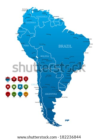 High detailed Map of South America - stock vector