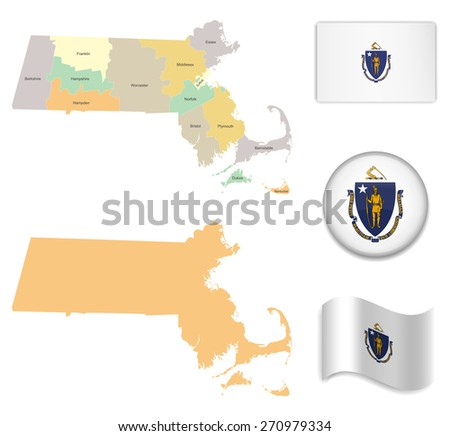 High Detailed Massachusetts Map and Flag Icons - stock vector