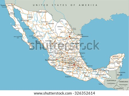 High detailed Mexico road map with labeling. - stock vector