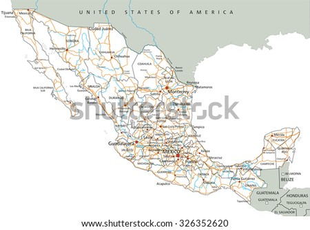 high detailed mexico road map with labeling