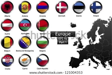High detailed national flags of European countries, clipped in round shape glossy metal buttons, vector , part 1