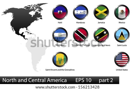 High detailed national flags of North and Central American countries, clipped in round shape glossy metal buttons, vector, part 2  - stock vector