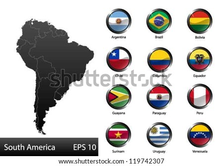 High detailed national flags of South American countries, clipped in round shape glossy metal buttons, vector