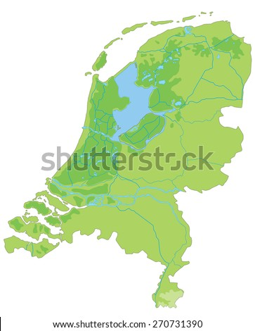High detailed Netherlands physical map. - stock vector