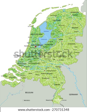 High detailed Netherlands physical map with labeling. - stock vector