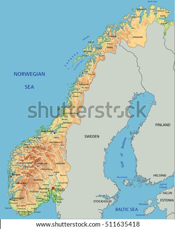 Highly Detailed Editable Political Map Separated Stock Vector - Norway map detailed
