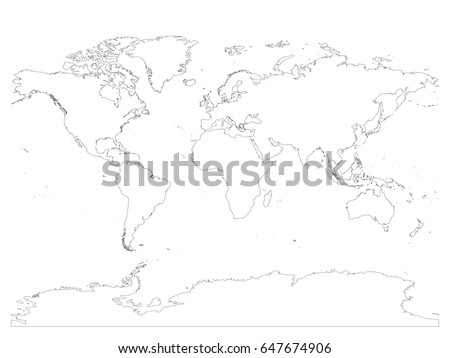 High detailed outline world map antarctica stock vector 647674906 high detailed outline of world map with antarctica simple thin black vector stroke on white gumiabroncs Image collections